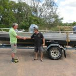 5.7m long boat, crabber, gains a ton of stability for such a narrow boat