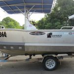 4.8m Aquamaster, plate, pro-crabber boat with custom BC Shield.